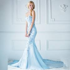Light Blue Mermaid Dress Frozen Light Blue Satin Prom Dresse Applique Sweetheart Hand Made