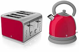 Toaster And Kettle Set Red Swan Kitchen Appliance Retro Set Red Dome Kettle U0026 Red 4