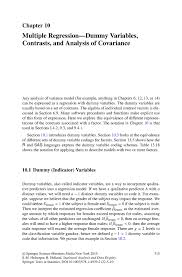 multiple regression u2014dummy variables contrasts and analysis of