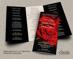 wedding program with red roses printable romantic wedding