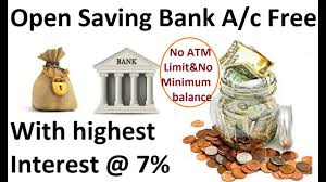 open saving account free with highest interest rate 7