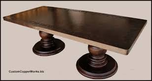 hammered copper dining table rectangular copper dining table wood pedestal table base 1 13