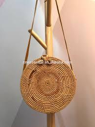 boho sunflower bali ata round rattan bag with long strap bali bag