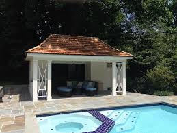 pagoda style pool cabana with cedar shake roof shower stall