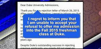 north carolina teen writes rejection letter to duke university u0027s