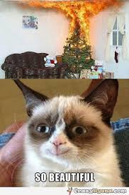 Grumpy Cat Meme Christmas - the christmas tree is burning so the grumpy cat smiles