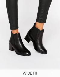 womens boots look look wide fit leather chelsea boot black shoes look
