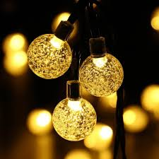 solar outdoor house lights solar outdoor string lights 20ft 30 led warm white crystal ball