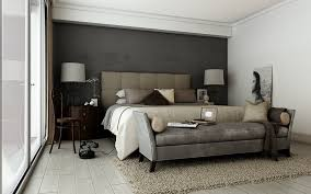 master bedroom painting with grey accent wall color and wooden
