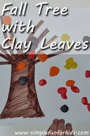 Simple Fall Crafts For Kids - fall tree with clay leaves simple fun for kids