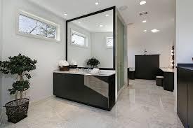 Modern Bathroom Interior Design Ideas - White cabinets dark floor bathroom