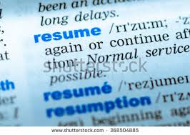 Resume Dictionary Royalty Free Close Up Of Word In English Dictionary U2026 368491067