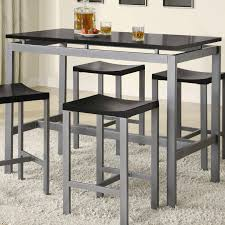 silver metal bar table minimalist counter height dining table set by true contemporary