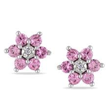 flower earrings miadora 10k gold pink sapphire and diamond flower earrings free