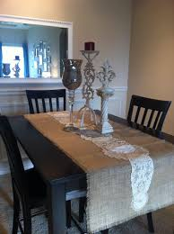 Burlap Home Decor Decor Dark Wood Dining Table With Burlap Table Runner And Parson