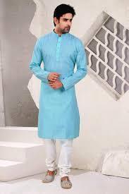 cotton fabric sky blue color kurta pyjama for men from kalaniketan com
