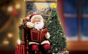 santa claus story reading beautiful christmas tree