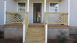 porch banister exterior cool small front porch decoration using solid natural oak