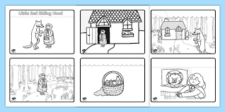 red riding hood story sequencing 4 a4 red