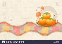 ppt template illustration of korean design with persimmon stock