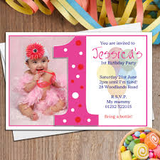 10 personalised girls first 1st birthday party photo invitations n18