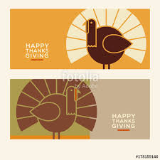 happy thanksgiving flat minimalist banner designs with abstract