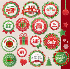 christmas sticker with labels and badge vector set 02 vector