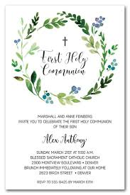 holy communion invitations blue buds wreath holy communion invitations