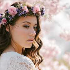 hair wreath bridal hair with garland violette garland flower pearl and