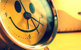 happy smiley on a clock morning