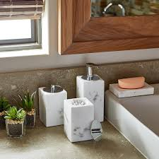 Bathroom Canisters White Marble Countertop Bathroom Set The Container Store
