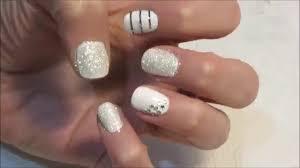 diy white wedding silver line nail polish tutorial youtube