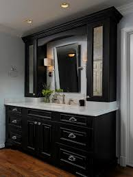 black bathroom cabinets with white counters design pictures