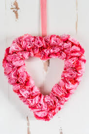 tissue paper flower valentine u0027s day wreath easy valentines day