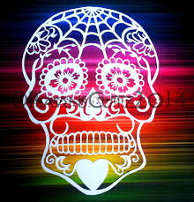 day of the dead sugar skull pattern stencil template for