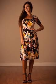 downeast dresses fall mustard floral modest dress east basics trendy modest