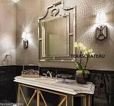 modern french chinese pagoda arch wall mirror foyer bathroom