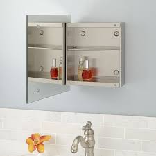showcase series stainless steel medicine cabinet with square