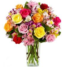 multicolored roses send 15 roses and multicolored alstroemerias bouquet to ukraine