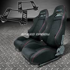 mustang seats ebay pair nrg type r style black cloth racing seat bracket for 89 97