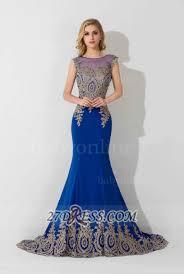 illusion cap sleeve mermaid prom dress royal blue floor