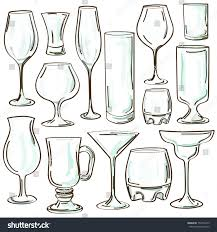 cocktail glass set set isolated hand drawn cocktail glasses stock vector 154703219
