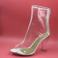 womens boots zipper back clear plastic boots pvc boots back zipper custom