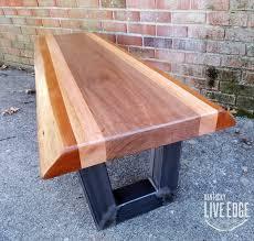 live edge mahogany coffee table live edge bench steel legs