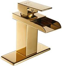 rozin gold finish waterfall single lever bathroom sink faucet with