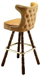 Upholstered Bar Stools With Backs Hand Upholstered Seat And Decorative Wooden Legs Make This
