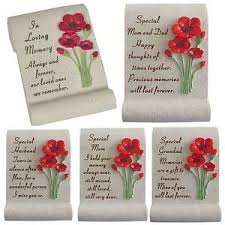 new poppy flowers scroll memorial graveside keepsake plaques