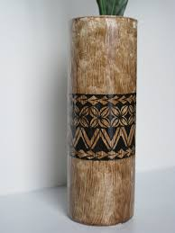 Samoan Home Decor Tapa Cloth Bark Cloth Style Tall Cylinder Vase With Handpainted