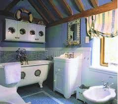 nautical bathroom decor ideas bahtroom casual window plus curtain motive and two type wall