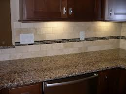 travertine backsplash with glass accents home decorating